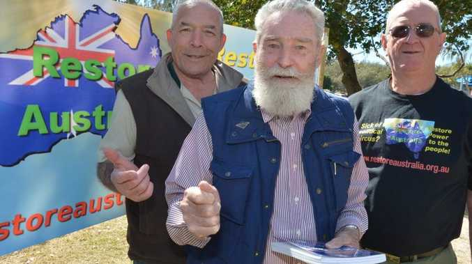 Charles Mollison (centre) and supporters Mike Holt and Allan McLean.