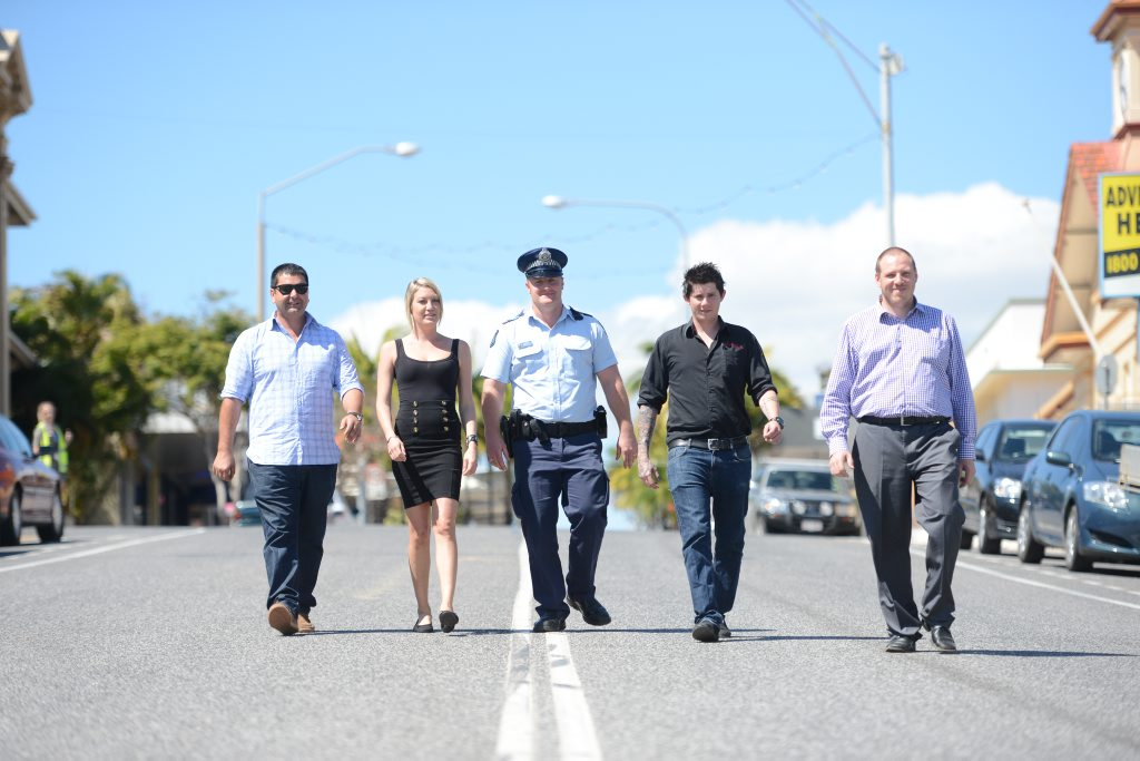 (left) The Reef Hotel General Manager Anthony Parmenter, Central Lane Hotel Boardroom Manager Colette Potter, Gladstone Police Sergeant Adam Tetley, Venue Manager Ben Lougoon and Duty Manager Ian Ireland are tackling night life issues as a combined force. Photo Brenda Strong / The Observer