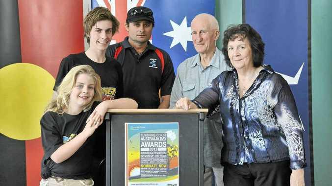 Australia Day award winners Ailish Bolt, Ash Ogilvie, Kerry Jones, Gordon Howitt and Ruth Bode.