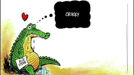 Tribute to Steve Irwin by editorial cartoonist Peter Broelman.
