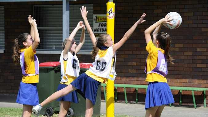 SGPS's Emersyn Burton stretches to her full extent during the PSSA Knock Out between South Grafton Primary School and Bilambil Primary School, which was held at Grafton. Photo JoJo Newby / The Daily Examiner
