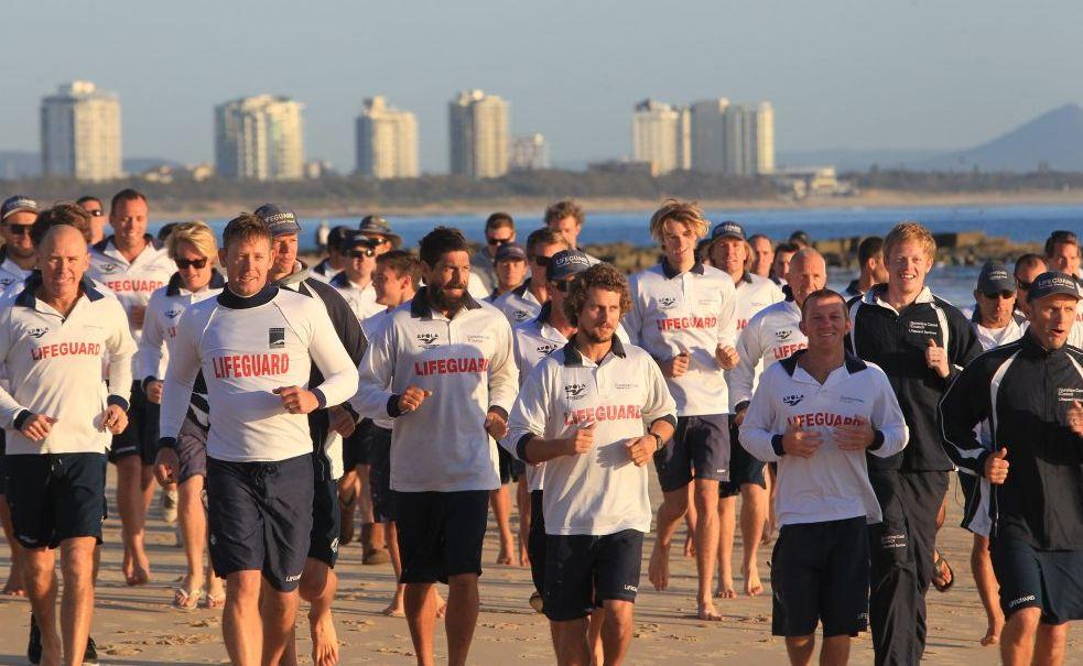 Sunshine Coast lifeguards hit Mooloolaba Beach on Tuesday for a meeting and a brisk run.