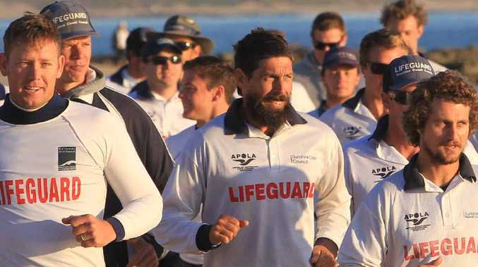 Sunshine Coast lifeguards hit Mooloolaba Beach yesterday for a meeting and a brisk run.