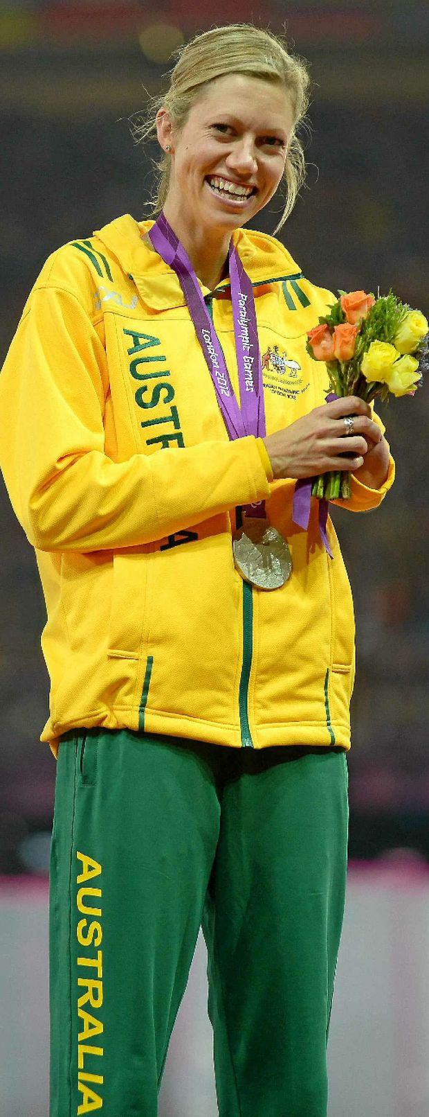 Carlee Beattie with her silver medal after the F46 long jump at the Paralympics.