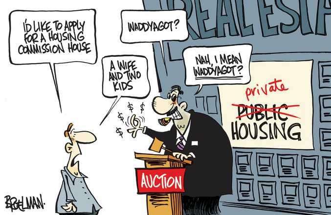 Cartoon about public housing.
