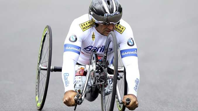 KENT, ENGLAND - JUNE 19: Alex Zanardi competes during the London 2012 Paralympic Cycling Training Day at Brands Hatch Racing Circuit on June 19, 2012 in Kent, England. (Photo by Ben Hoskins/Getty Images)