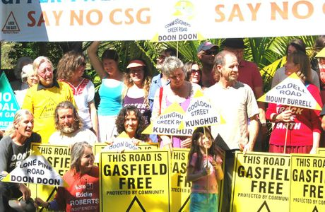 Residents and farmers protest against coal seam gas mining at Mount Burrell.