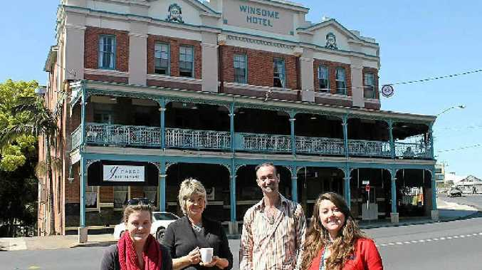 COLLECTING STORIES: Gathering stories about The Winsome building are (l-r) Anita Loneragan from SCU, Mieke Bell from The Winsome, Grayson Cooke and Zoe Robinson-Kennedy from SCU.