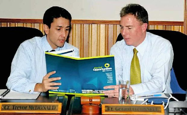 Local Government Minister David Crisafulli in the Fraser Coast Regional Council chambers with Mayor Gerard O'Connell.
