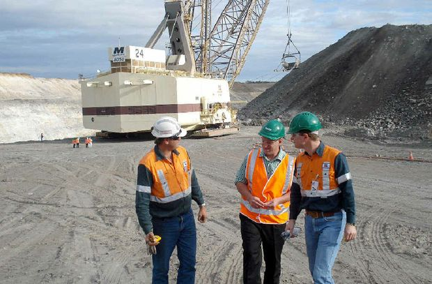 Former member for Flynn Chris Trevor touring the soon-to-be closed Gregory mine with BMA executives.