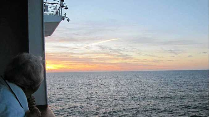 A beautiful sunrise on the first morning at sea on Pacific Dawn.