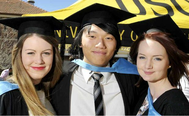Preparing to enter the world of work are (from left) Tiffany O'Brien, Christopher Lau and Laura Scott.