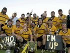 Goondiwindi celebrates its Risdon Cup grand final victory over the Bears at Clive Berghofer Stadium on Saturday.