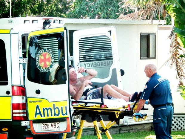 Mitchell Treyvaud's victim is taken to hospital after being stabbed.