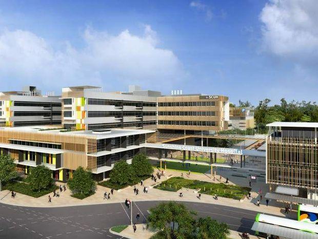 An artist's impression of the Sunshine Coast University Hospital to open at Kawana in 2016.