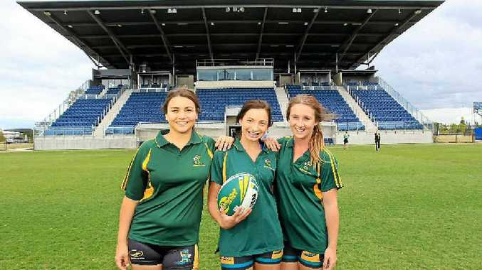 Bec Kerr, Emily Roberts and Lucy Botten at Stockland Park, which will host Touch Football Australia events for three years.
