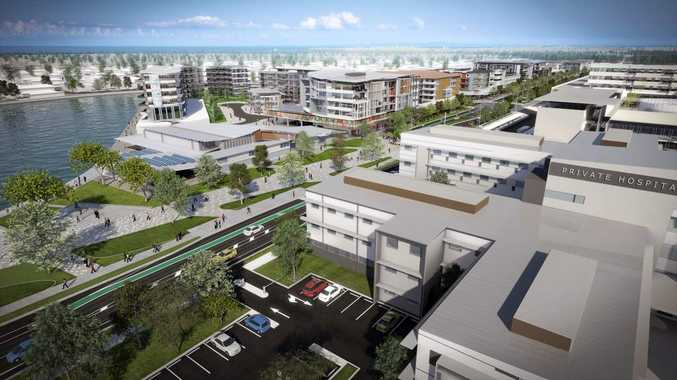 An artist's impression of the health hub development around the Sunshine Coast private and public hospitals being built at Kawana.