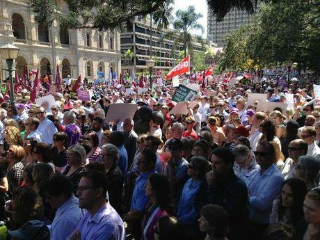 Workers protest massive public servant job cuts in Brisbane. Source: Ten News Facebook