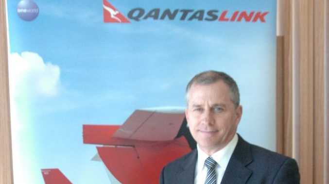 Qantaslink executive John Gissing is excited about announcement of direct Gladstone to Sydney flights yesterday at Gladstone Airport.