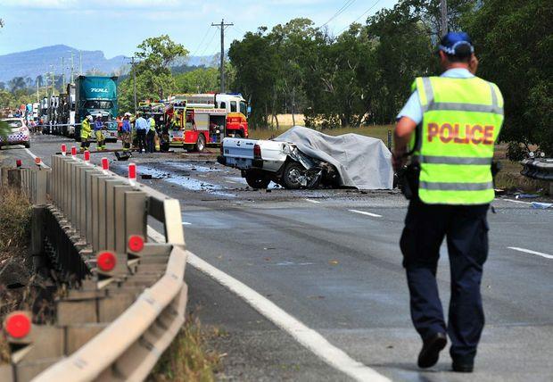 The tragic scene of a fatal road crash at Cameron Creek on the Bruce Highway, 3km north of Koumala.