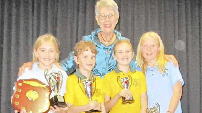 Lismore Mayor Jenny Dowell congratulates the winners of the Big Scrub Public Speaking challenge (l-r) Siobhan Towers (Goolmangar Public) and Harry Whittaker (Dunoon Public) and runners-up Ruby DuPreez-Parks (Dunoon Public) and Ella-Rose Carthew-Wood (Coffee Camp Public).
