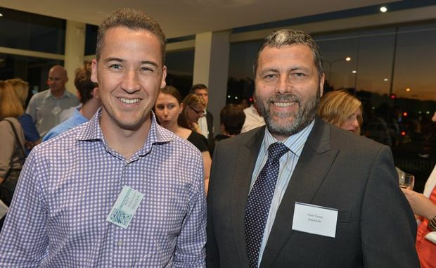 Adam Brown, left, and awards finalist Chris Turner at the Maroochydore Chamber of Commerce networking night at Lexus of Maroochydore.
