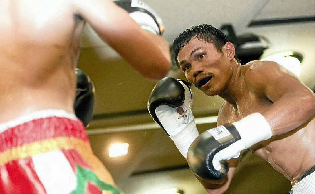 Jack Asis watches his opponent in a fight earlier this year at Rumours.
