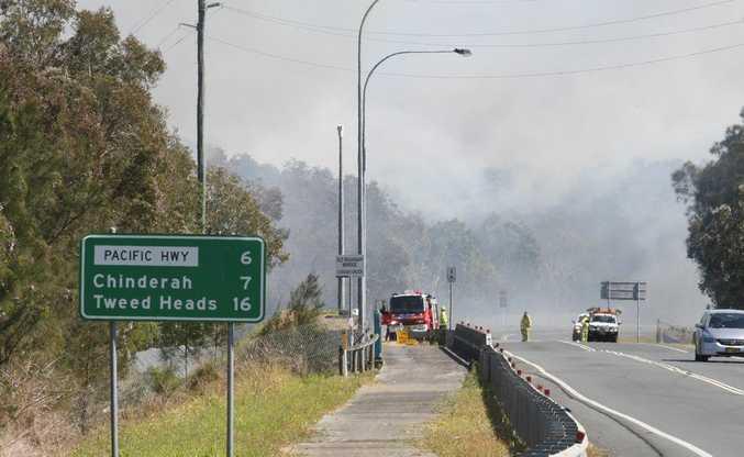 The bushfire on Tweed Coast Road at Cudgen. Photo: Blainey Woodham / Daily News