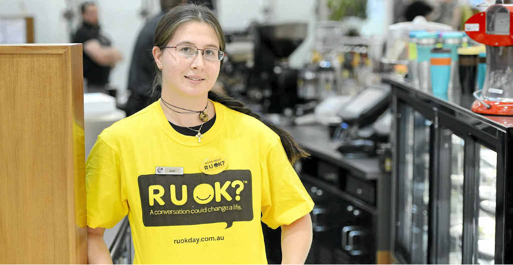 Samantha Wallace of Gloria Jean's Grafton wears her R U OK T-shirt.