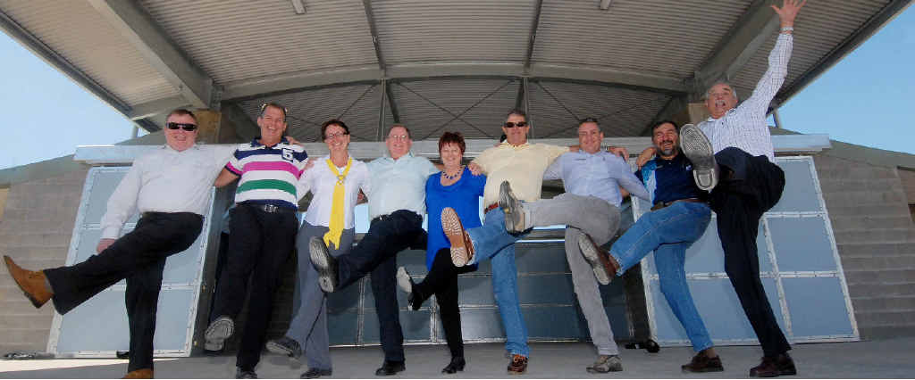 Mackay councillors (from left) Frank Gilbert, Greg Martin, Theresa Morgan, Kevin Casey, Mayor Deirdre Comerford, Paul Steindl, Chris Bonanno, Laurence Bonaventura and Dave Perkins visit the new amphitheatre at Mackay Botanic Gardens.