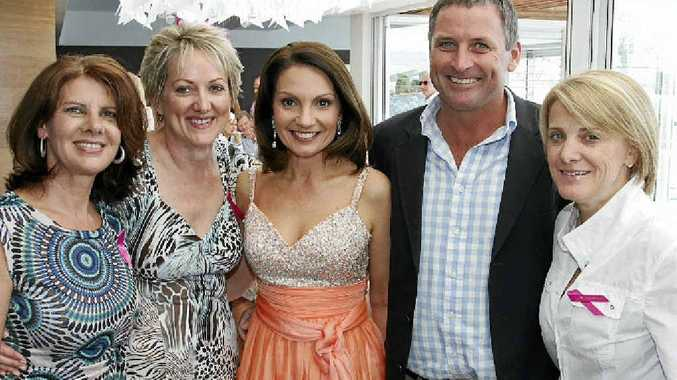 From left, organisers Katrina Thorpe and Rosemary Callaghan with Rosanna Natoli, Ben Dark and Kylie Perkins at the Cindy Mackenzie Breast Cancer Foundation fundraiser.