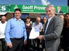 Paul McMahon and Geoff Provest with a petition signed by residents against the redevelopment of Kingscliff Police Station.