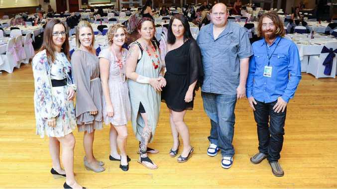 Danni Walker, Nicky O'Neill, Katie Edwards, Renee Fox, Naomi Elliott-Vanagas, Daniel Perry and Nigel O'Neill at the fundraising dinner for Bonnie O'Neill on Saturday night.