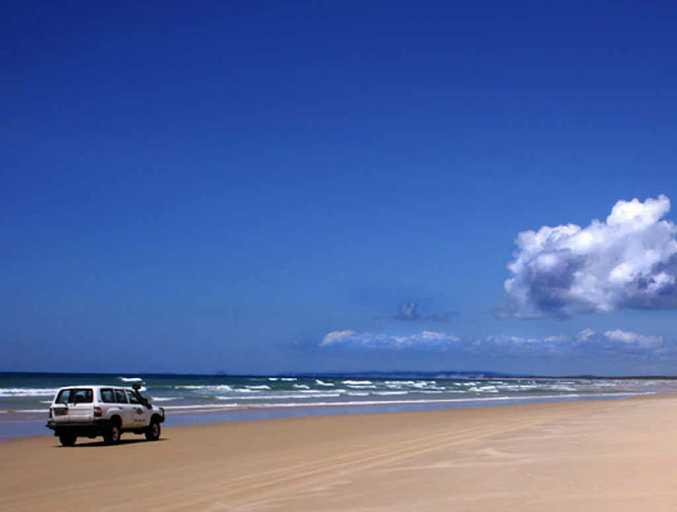 One of the charms of Fraser Island is driving along the back beach on a beautiful, crisp morning.