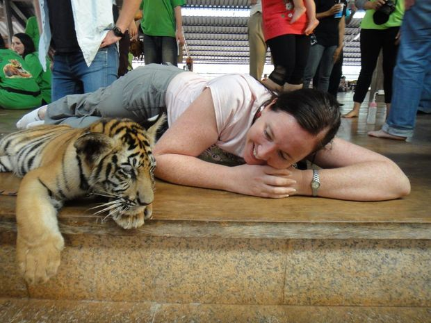 Rae Wilson at the Tiger Temple, about two hours drive from Bangkok. Hands-on experience - feeding, walking, washing and playing with tiger cubs.