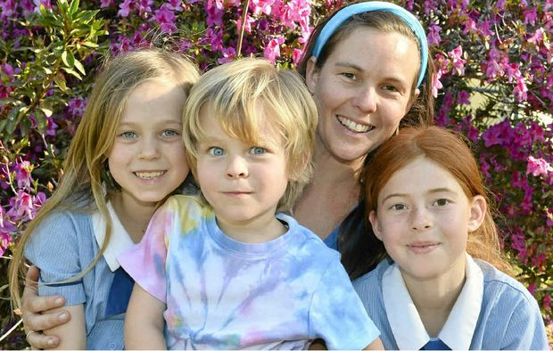 Emma Malthouse with her children Indigo, 9, Jasper, 8, and Raphael, 4. Emma is part of the Sands group, which helps parents deal with the loss of a baby.