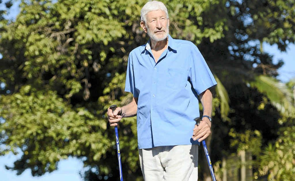 Felix Adena, 85, keeps fit by walking and exercising every day.