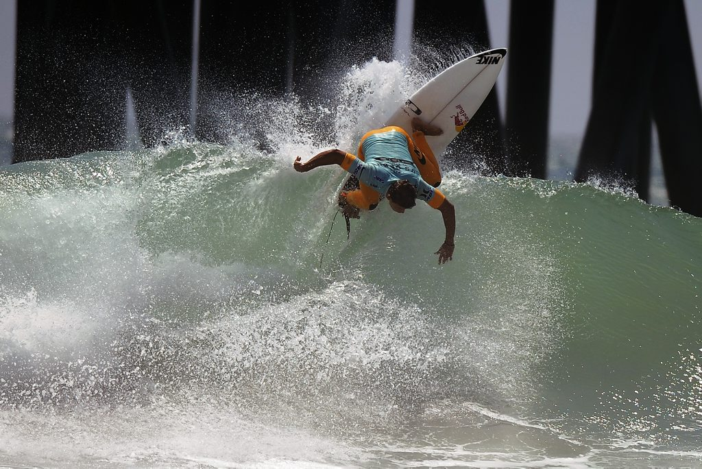 Julian Wilson in action during the US Open of Surfing event on Aug 5, 2012, in Huntington Beach, California.