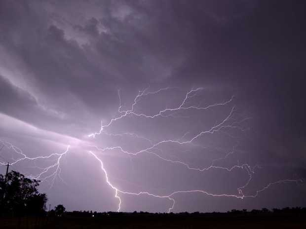 Lightning strikes over Pittsworth