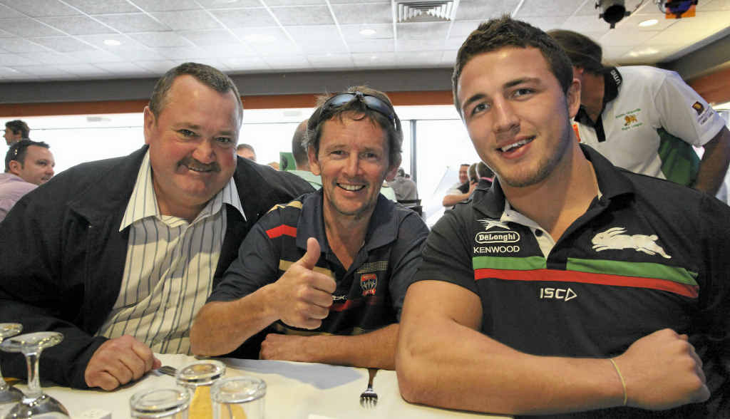 Darryl Brohman, Allan Robinson and Sam Burgess at a flood benefit luncheon late last year.
