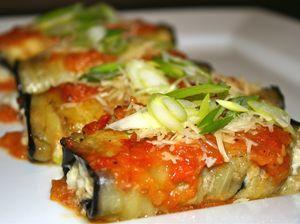 Vegetarian eggplant rolls