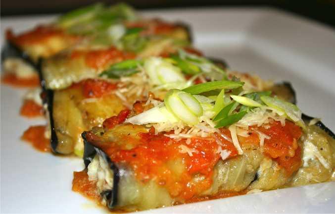 Miss Foodie's vegetarian eggplant rolls