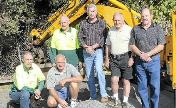 ROAD CREW: (back) Warren Watts (46 years service with LCC), Wayne Cowan (39 years), Norm Bale (23 years) and Neville Hayward (41 years); (front) David Copping (42 years) and Bill Watts (40 years).