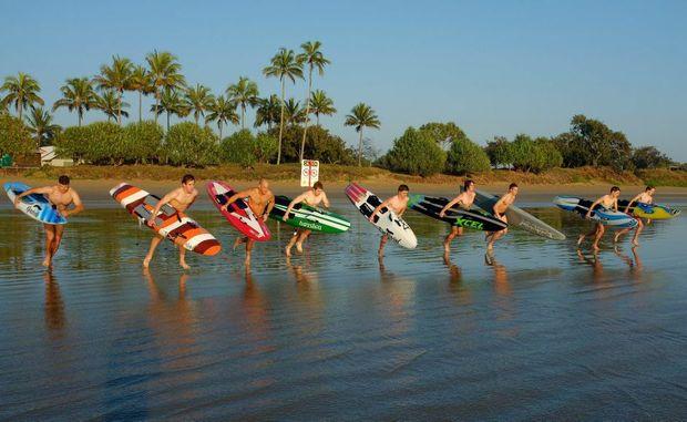 Surf lifesavers training at Nielson Park Beach Bargara.