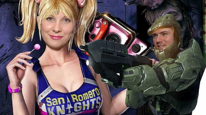 Oz Prosser and Grant McDermott from Gametraders take on the persona of video game characters Lollipop Chainsaw and Master Chief in this digitally-altered photo.