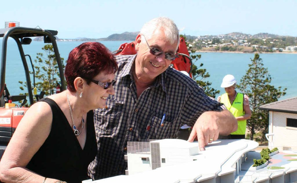Steve and Roslyn Clifford, from Rockhampton, check out a model of their new home.