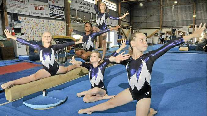 Maroochy Beach Gymnastics Club gymnasts (clockwise from front right) Kaitlyn Mitchell, Ella Agapow, Pyper Hawes, Jayd Sanscie and Josie Jenkins will be competing in the Qld club championships.