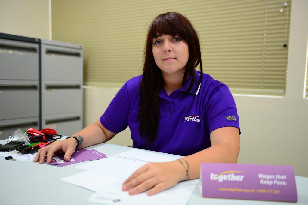 Ashleigh Saunders, regional organizer Together union, Rockhampton region. Photo Sharyn O'Neill / The Morning Bulletin