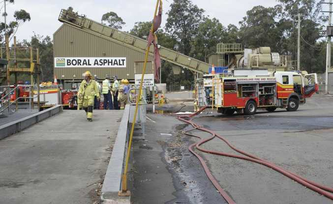 Flames erupted and smoke billowed from an exploded bitumen tanker at this Boral Asphalt site in Narangba.