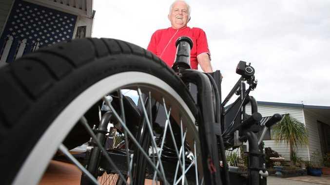 Jim Maynard with his super fast wheel chair Photo Blainey Woodham / Daily News